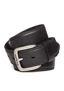 Columbia Drop Edge Leather Belt with Stitching