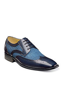 Kemper Leather And Linen Wing Oxford Dress Shoe