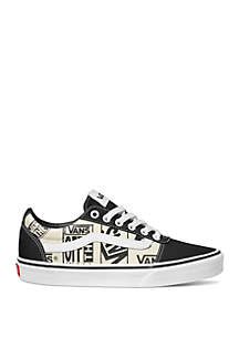 VANS® Ward Black and White Logo Sneakers