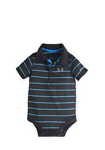 Striped Polo Collar Bodysuit