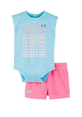 0c492062b Under Armour® Baby Girls Hello Awesome Shorts and Bodysuit Set ...