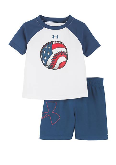 Baby Boys Flag Baseball Raglan Tee and Shorts Set