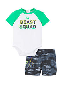 Under Armour® Baby Boys Beast Squad Bodysuit and Shorts Set