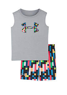 Under Armour® Baby Boys Pixel Zoom Multicolor Logo Shorts and Tank Set