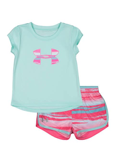 Under Armour® Toddler Girls Sunwashed Logo T-Shirt Set