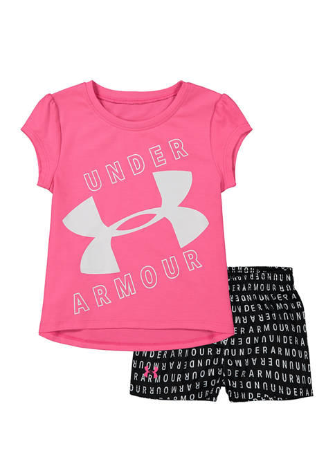 Under Armour® Toddler Girls Wordmark Logo T-Shirt Set