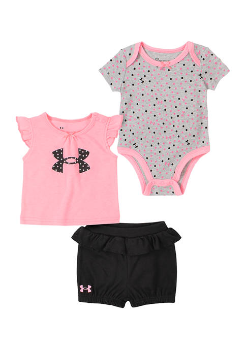 Baby Girls 3 Piece Dotted Logo Graphic Set