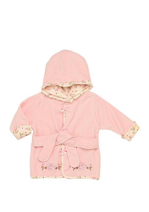 Little Me Baby Girls Vintage Rose Appliqued Velour