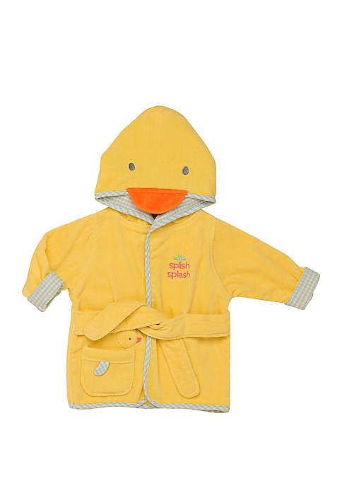 Little Me Baby Duck Appliqued Velour Hooded Bathrobe