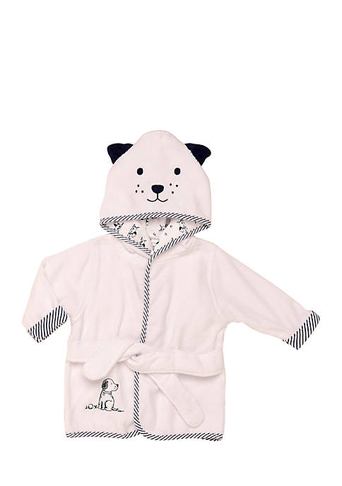 Little Me Puppy Toilet Appliqued Velour Hooded Bathrobe