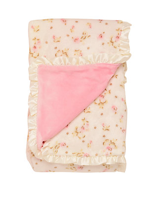 NEW Reversible Soft Cuddle Fleece Dot Satin Infant Baby Blanket with Satin Trim