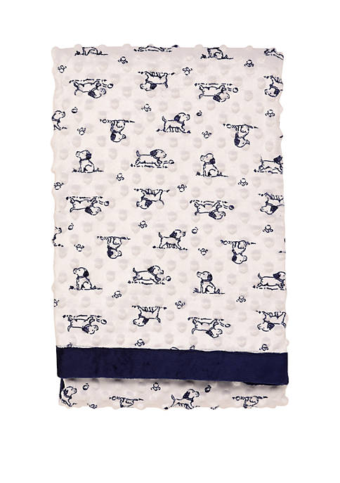 Little Me Puppy Toile Textured Baby Blanket
