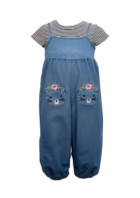 Bonnie Jean Baby Girls Denim Romper with T-Shirt