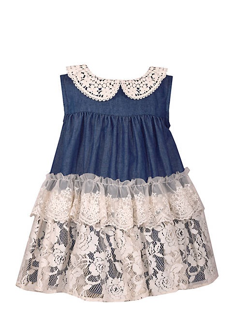 Bonnie Jean Girls Infant Chambray Tiered Dress