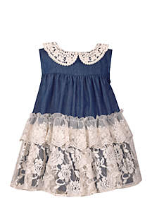 Girls Infant Chambray Tiered Dress