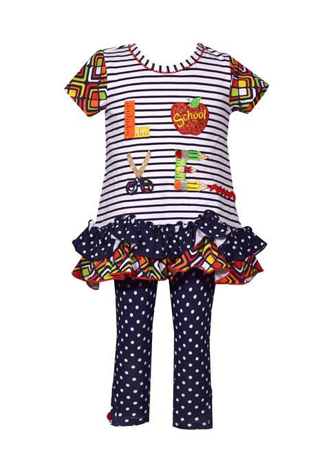 Bonnie Jean Baby Girls Mixed Print Love Appliqué