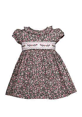 c74fa35c5bf9 Bonnie Jean Baby Girls Printed Ditsy Floral Smocked Dress ...