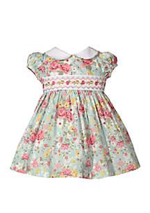 Bonnie Jean Baby Girls Poplin Floral Print Smocked Dress