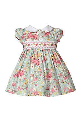 107280e25ef Bonnie Jean Baby Girls Poplin Floral Print Smocked Dress ...
