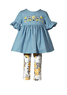 Bonnie Jean Baby Girls Chambray 2 Piece Floral Top and Legging Set