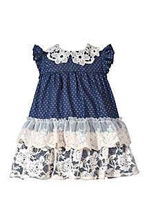 Bonnie Jean Baby Girls Denim with Lace Float Dress