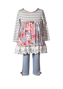 Bonnie Jean Baby Girls 2 Piece Floral Tunic and Legging Set