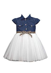 Bonnie Jean Baby Girls Denim Shirtdress Mesh Skirt