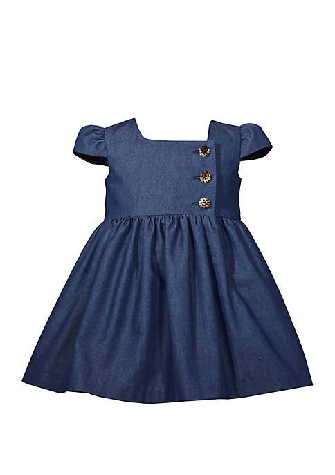 Bonnie Jean Baby Girls Square Neck Denim Button