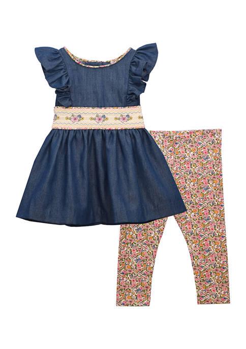 Toddler Girls Chambray Top with Leggings Set