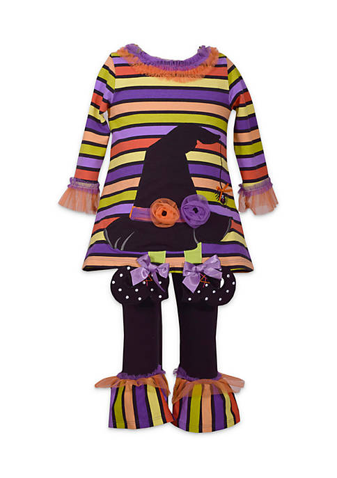 Bonnie Jean Toddler Girls Halloween Witch Hat Set