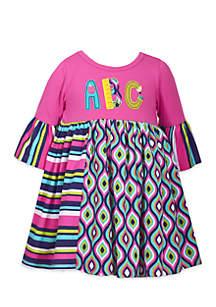 Toddler Girls ABC Mixed Media Babydoll Dress