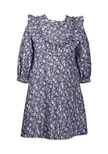 Girls 4-6x Printed Yoke Denim Dress