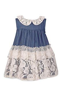 Girls 4-6x Peter Pan Lace Denim Dress with Ruffles