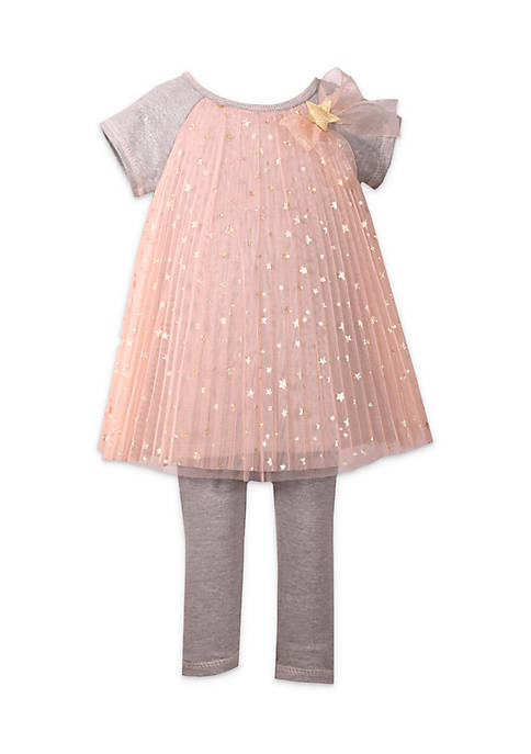 Bonnie Jean Toddler Girls Foil Star Tulle Legging