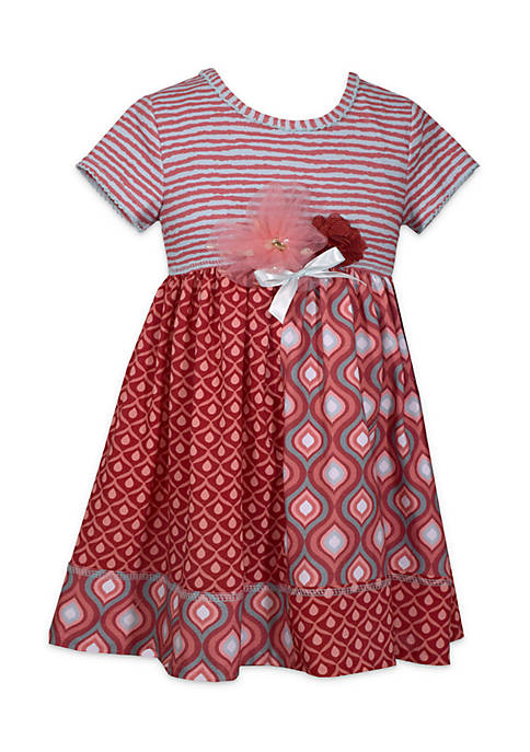 Bonnie Jean Toddler Girls Mixed Media Babydoll Dress