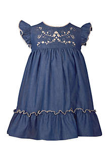 Girls 2-6x Denim Flutter Sleeve Embroidered Dress