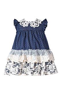 Bonnie Jean Toddler Girls Lace Peter Pan Chambray Dress