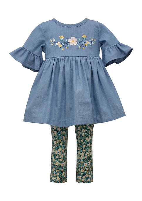 Baby Girls Chambray Floral Embroidered Dress and Printed Legging Set