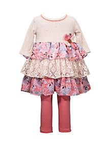 Bonnie Jean Baby Girls Tiered Top and Leggings Set