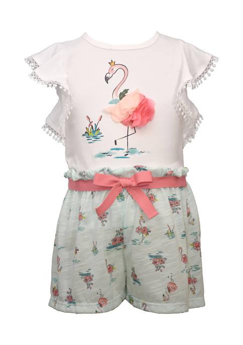 Baby Girls Flamingo Shorts Set