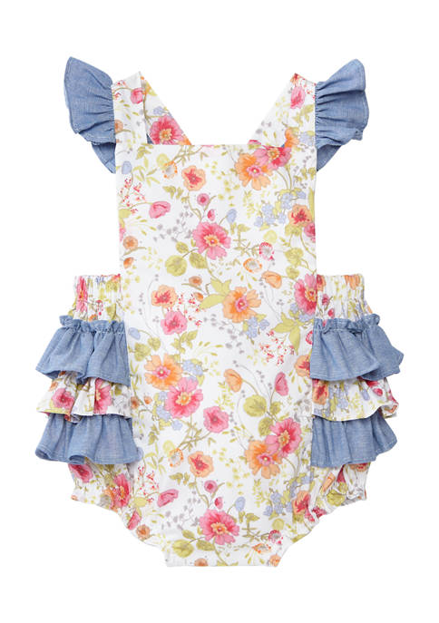 Baby Girls Floral Chambray Bubble Romper