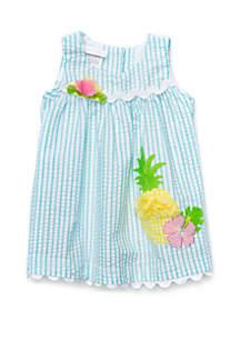 Bonnie Jean Baby Girls Seersucker Pineapple Dress Set