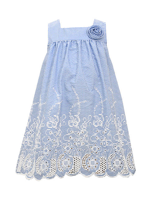 Bonnie Jean Toddler Girls Sleeveless Embroidered Button Back