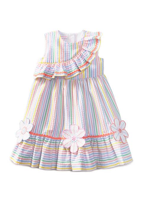 Toddler Girls  Sleeveless Asymmetrical Multi Stripe Seersucker Dress