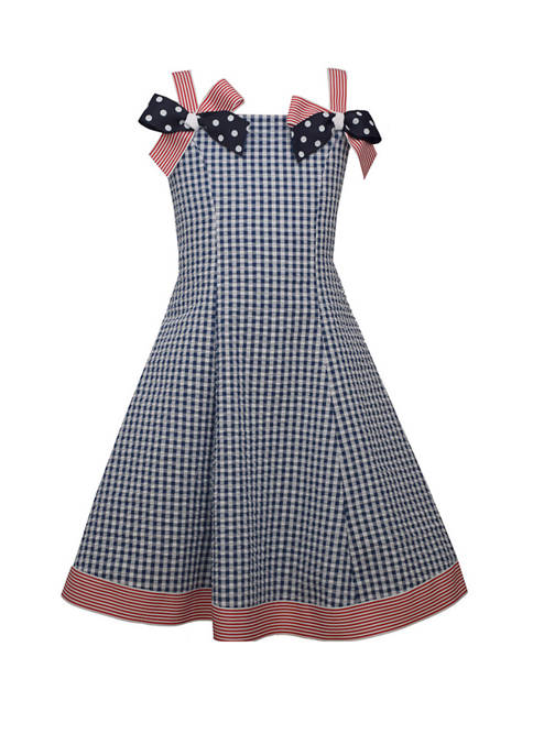 Toddler Girls Sleeveless Americana Bow Shoulder Dress