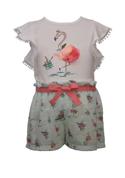 Bonnie Jean Toddler Girls Flutter Sleeve Flamingo Short