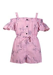 Bonnie Jean Toddler Girls Off Shoulder Embroidered Romper