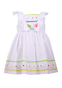 Bonnie Jean Toddler Girls White Seersucker Dress with Daisies