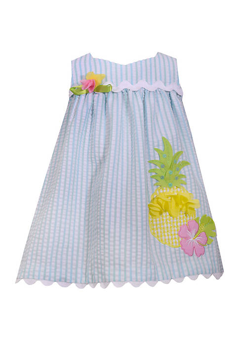 Toddler Girls Pineapple Seersucker Dress