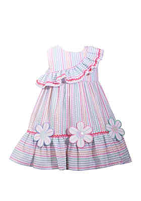 749b37f6cd78 Bonnie Jean Toddler Girls Multi Stripe Seersucker Dress with Flowers ...